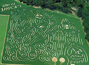 Giant corn maze and pumpkin patch at Uncle Shucks in Dawsonville, GA, North East of Atlanta near Gainesville and Alpharetta.