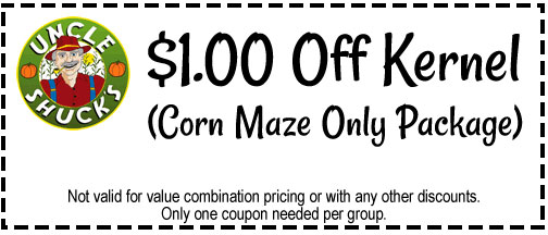Coupon for $1 off at Uncle Shucks Corn Maze and Pumpkin Patch in Dawsonville, Georgia, North East of Atlanta near Gainesville and Alpharetta