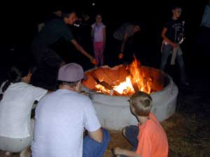 Bonfires at Uncle Shucks Pumpkin Patch and Corn Maze, Alpharetta, Georgia, North East of Atlanta near Gainesville and Alpharetta.
