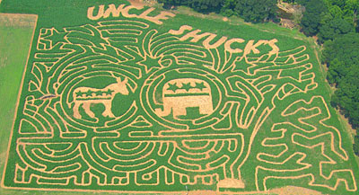 Uncle Shuck's 2008 Corn Maze at Uncle Shucks Pumpkin Patch and Corn Maze, Alpharetta, Georgia, North East of Atlanta near Gainesville and Alpharetta.